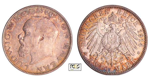 Allemagne - Bayern - Ludwig III (1913-1918) - 2 mark 1914 D