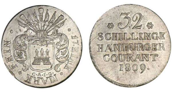 Allemagne - Hambourg - 32 schilling 1809 CAIG A/ Armoiries. R/ Valeur.