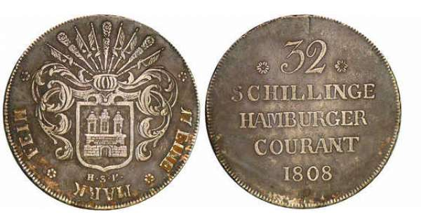 Allemagne - Hambourg - 32 schilling - Grand module 1808
