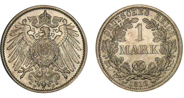Allemagne - 1 mark 1916 F Empire germanique (1905-1919).