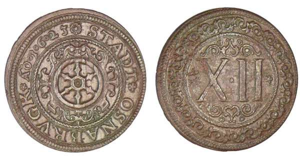 Allemagne - Osnabruck - 12 pfenning 1623 A/ Roue. R/ XII dans une couronne.