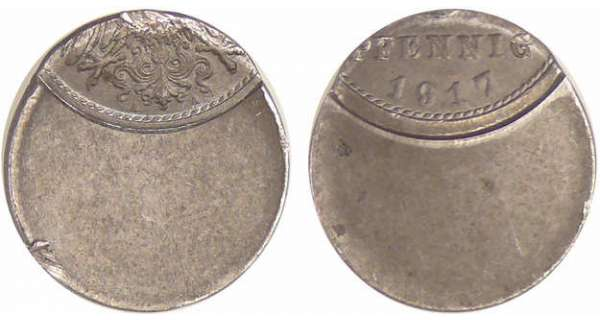 Allemagne - 5 pfennig 1917 A, frappe casquette