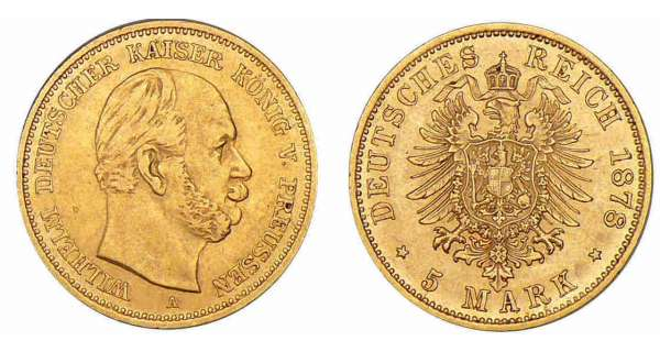 Allemagne - Prussie - Guillaume Ier - 5 mark 1878 A (Berlin) Guillaume Ier (1861-1888).