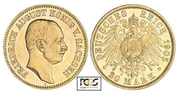 Allemagne - Saxe - Friedrich August III - 20 mark 1905 E Friedrich August III (1904-1918).