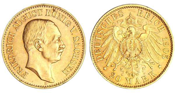 Allemagne - Saxe - Friedrich August III (1904-1918) - 20 mark 1905 E
