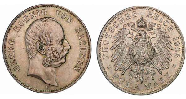 Allemagne - Saxe - Georg - 5 mark 1903 E Georg (1902-1904).