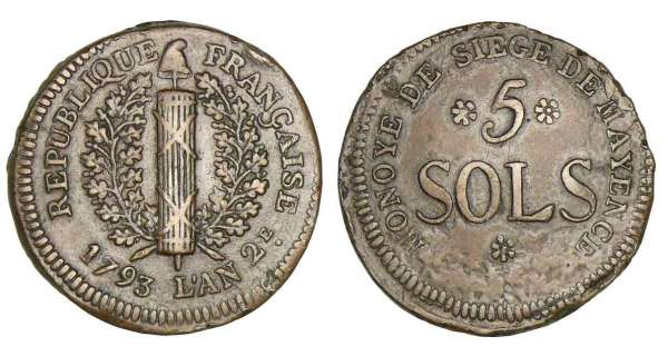 Allemagne - Sige de Mayence - 5 sols - 1793
