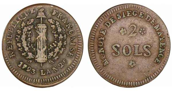 Allemagne - Sige de Mayence - 2 sols - 1793