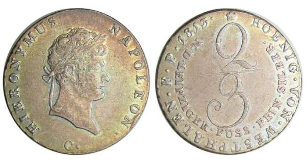 Allemagne - Westlalen - Hieronymus Napoleon (1807-1813) - 2/3 taler 1813 C (Clausthal)