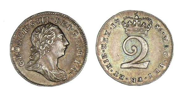 Angleterre - George III - 2 pence 1786 George III (1760-1820) A/ Buste lauré à droite. R/ 2 sous une couronne.