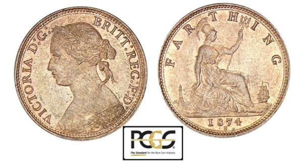 Angleterre - Victoria - Farthing 1874