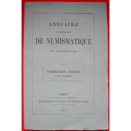Annuaire Numismatique - Numismatique ancienne (grecque) - 1873
