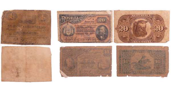 Argentine - Lot de 3 billets 1 real 1871, 10 centavos 1884, 20 centavos 1884