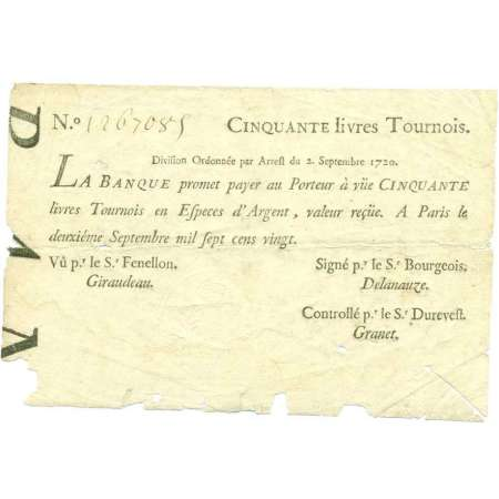 Banque de Law - Billet de 50 livres tournois - 2 septembre 1720 No 1267085