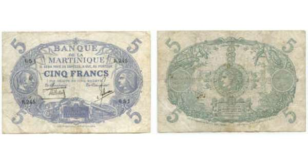 Billet de 5 francs violet - Martinique - 1934  Dimension : 130x90 mm.