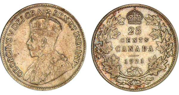 Canada - George V - 25 cents 1921 George V (1910-1936).