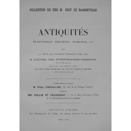 Catalogue Collection Joly de Bammeville Piot Antiquits - 1893