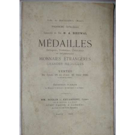 Catalogue de monnaies de la collection A. Bieswal - 1885