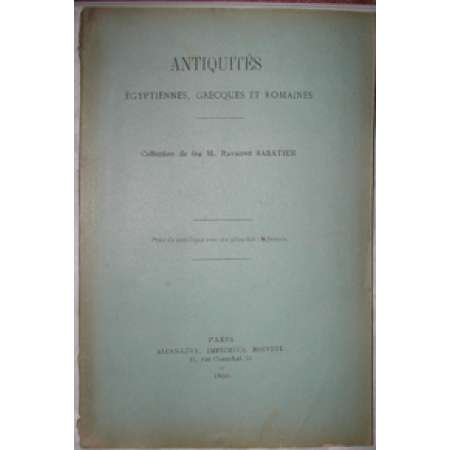 Catalogue de vente antiquit gyptiennes, grecques et romaines 1890