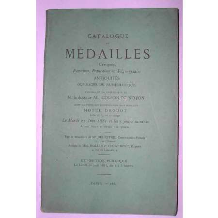 Catalogue de vente mdaille Collection Colson de Noyon - 1881