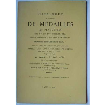 Catalogue de vente de mdailles et plaquettes - 1881