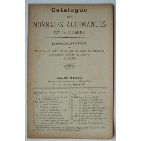 Catalogue de vente des monnaies allemandes de la guerre