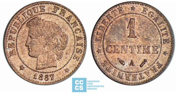 1 centime Cérès - 1887 A (Paris)