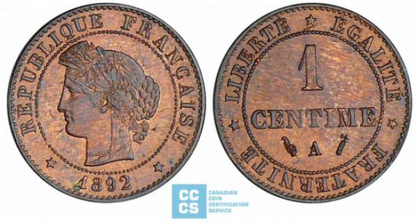 1 centime Cérès - 1892 A (Paris)