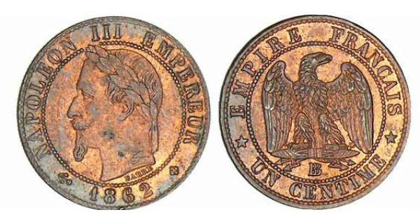 1 centime Napolon III tte laure - 1862 BB (Strasbourg)