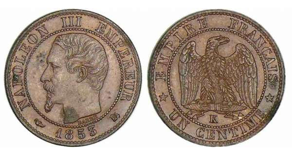 1 centime Napolon III tte nue - 1853 K (Bordeaux)