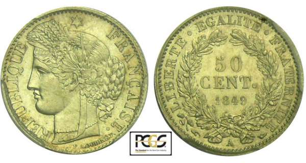 50 centimes Cérès - 1849 A (Paris)