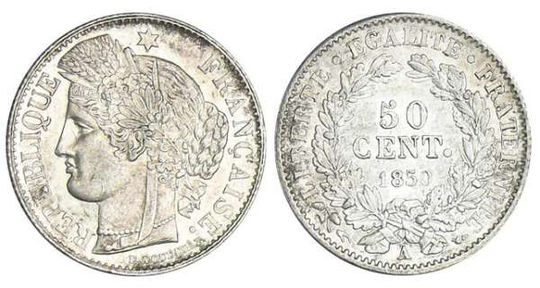 50 centimes Cérès - 1850 A (Paris)