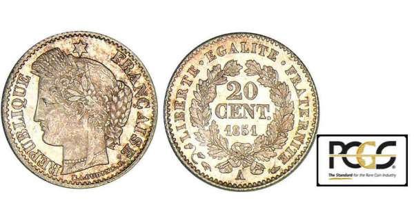 20 centimes Cérès - 1851 A (Paris)