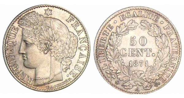 50 centimes Cérès - 1872 A (Paris)