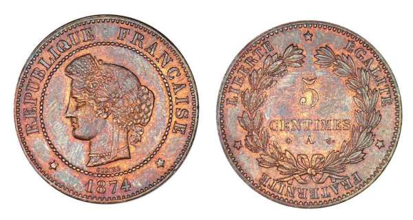 5 centimes Cérès 1874 A (Paris)
