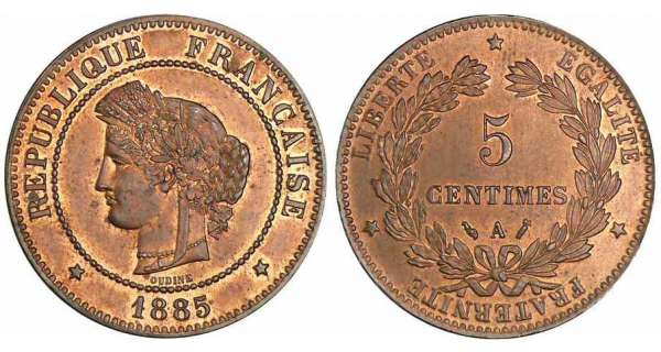 5 centimes Cérès - 1885 A (Paris)