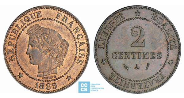 2 centimes Cérès - 1889 A (Paris)