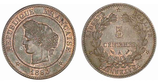 5 centimes Cérès 1893 A (Paris)