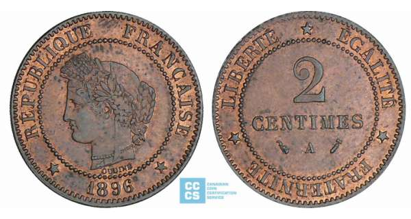 2 centimes Cérès - 1896 A (Paris)