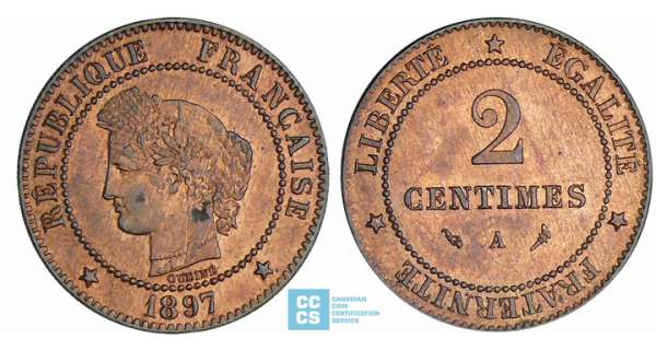2 centimes Cérès - 1897 A (Paris)