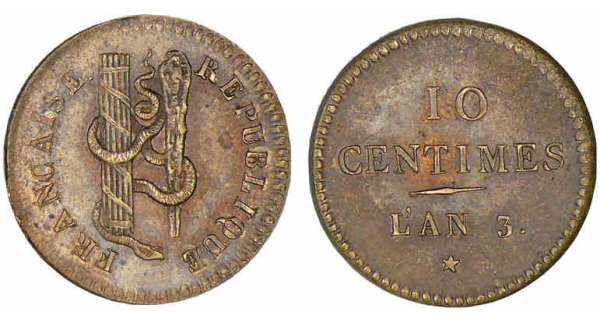 10 centimes laiton AN 3 A/ REPUBLIQUE FRANCAISE R/ 10 CENTIMES L'AN 3. *