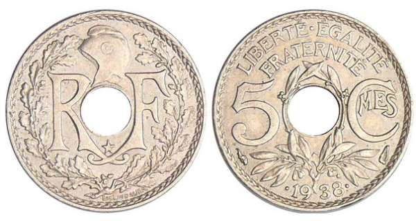 5 centimes Lindauer maillechort .1938. *