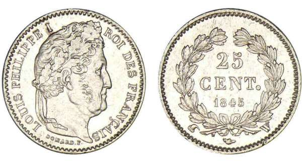 25 centimes Louis-Philippe Ier 1845 W (Lille)