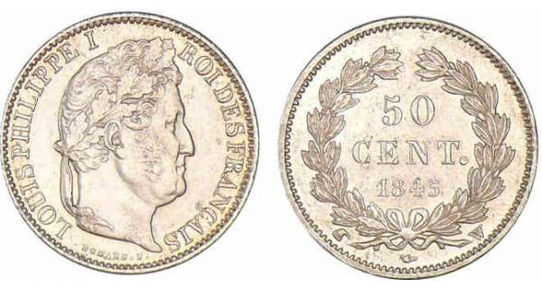 50 centimes Louis-Philippe Ier 1845 W (Lille)