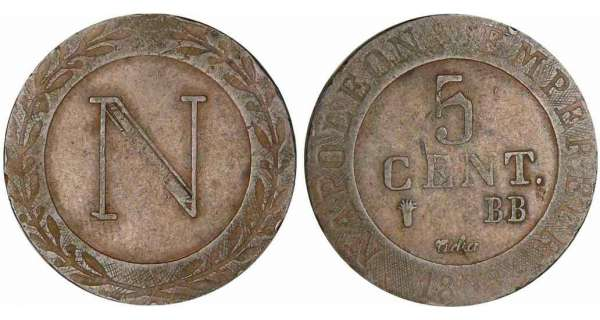 5 centimes Napolon Ier - 1808 BB (Strasbourg)