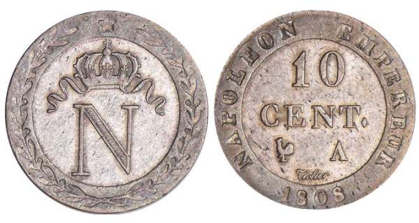 10 centimes Napolon Ier - 1808 A (Paris)