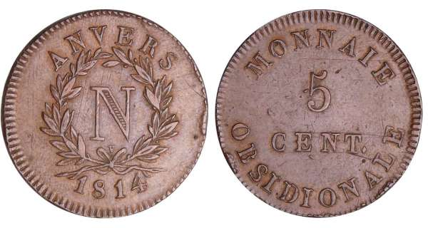 5 centimes Napolon Ier - Sige d'Anvers 1814