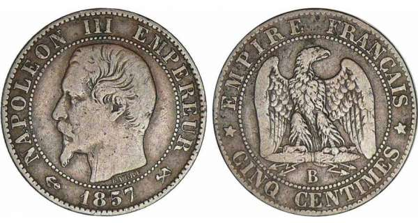 5 centimes Napolon III tte nue - 1857 B (Rouen)