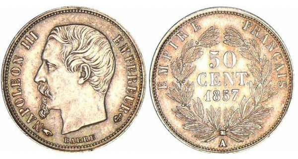 50 centimes Napolon III tte nue - 1857 A (Paris)