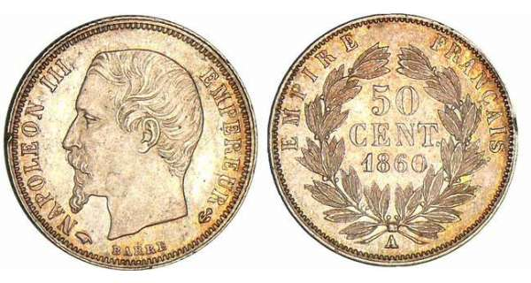 50 centimes Napolon III tte nue - 1860 A (Paris)